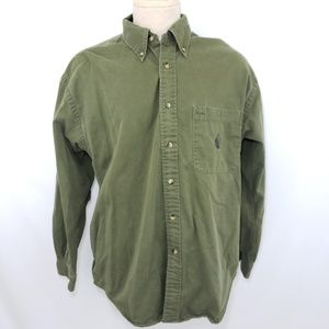 Vintage Nautica USA Mens Button Down Green L